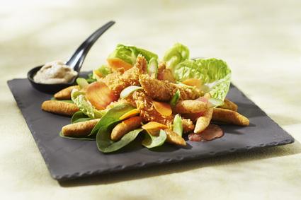 Recette de salade césar aux mini quenelles et poulet croustillant