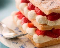 Recette feuilleté de fraises à la chantilly