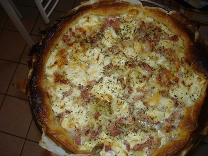Recette tarte chèvre, oignons lardons (tarte salée)