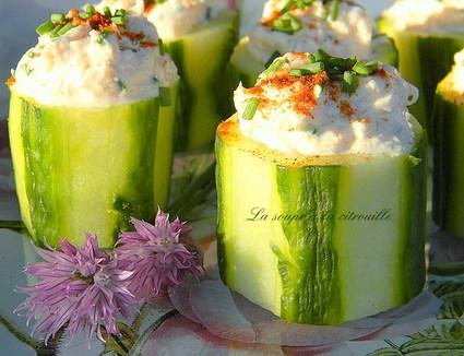 Recette de bouchées de concombre au crabe