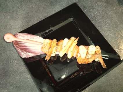 Recette de brochettes de crevettes à l'ail et persil