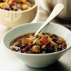 Recette soupe de champignons sauvages aux croûtons de ciabatta ...