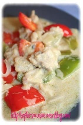 Recette de deux poivrons et poisson blanc au curry vert