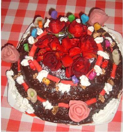 Recette de gâteau d'anniversaire au chocolat noir et noix