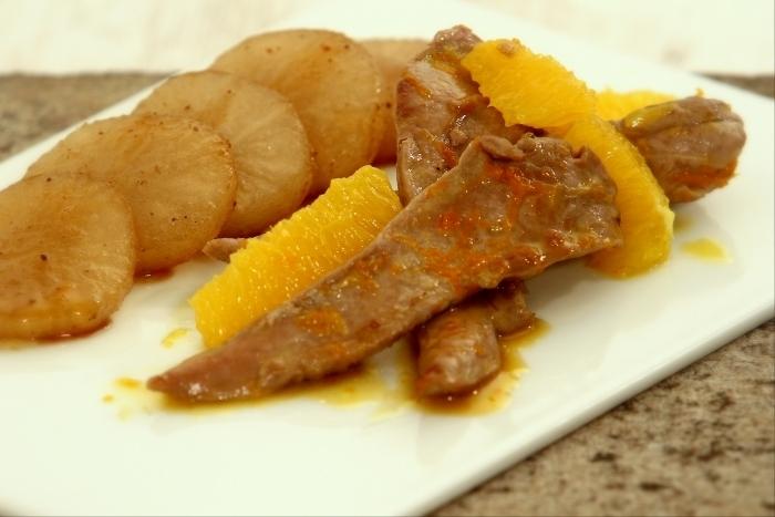 Recette de aiguillettes de canard à l'orange, palet de navet cuisiné ...