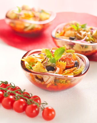 Recette de salade de farfalle tricolore barilla au poulpe, sauce aux ...