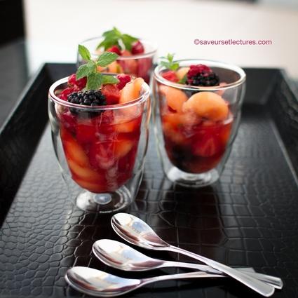 Recette de salade melon menthe-basilic-fruits rouges