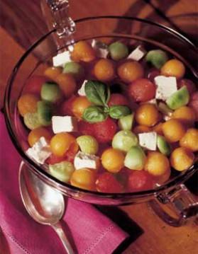 Salade de trois melons à la feta pour 6 personnes