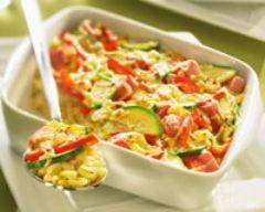 Recette gratin d'ebly aux légumes et au jambon