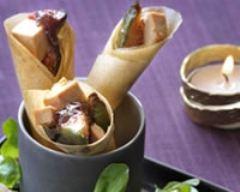 Recette cornets croustillants au foie gras et confiture de figues
