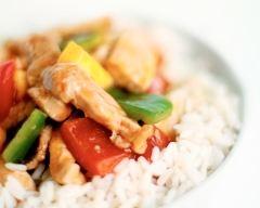 Recette sauté de porc aux légumes et au riz