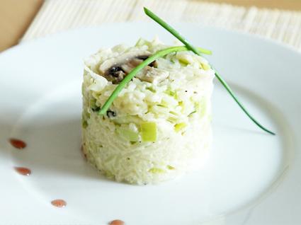 Recette de riz sauté aux poireaux et aux champignons