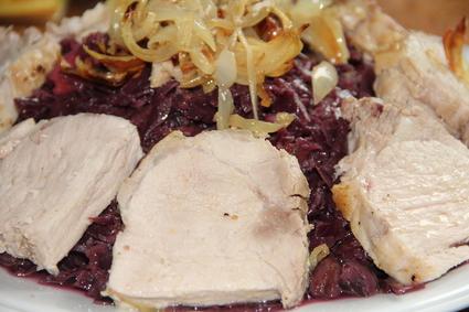 Recette de rôti de porc aux épices, chou rouge, châtaignes, lardons ...