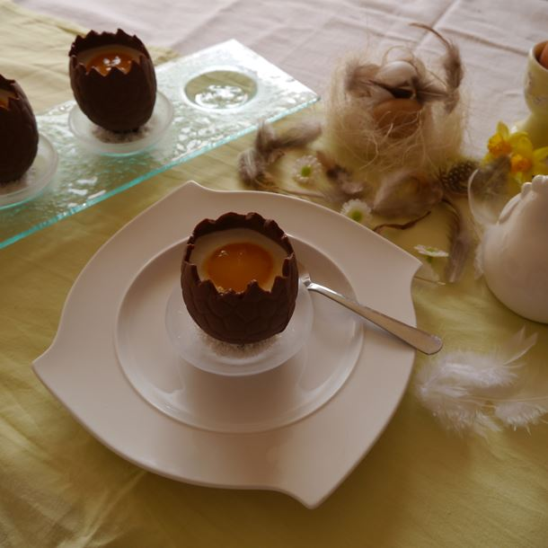 Recette oeufs chocolat surprise panna cotta coco mangue