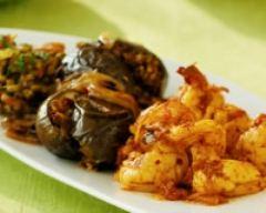 Recette gambas au curry et aux aubergines braisées