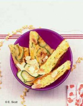 Omelette froide courgettes et amandes pour 2 personnes