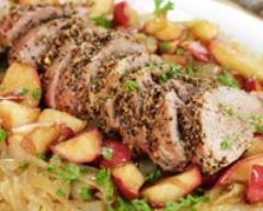 Recette rôti de porc dans l'échine à la rhubarbe
