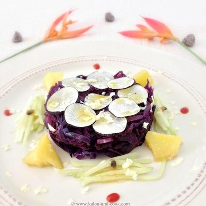 Recette de salade crue et cuite de chou rouge et radis noir, au ...