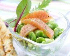 Recette saumon « gravlax » & salade de févettes