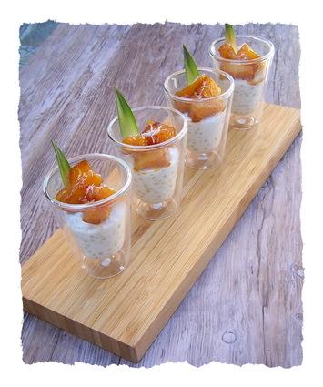 Recette ananas rôti au miel sur son lit de perles coco