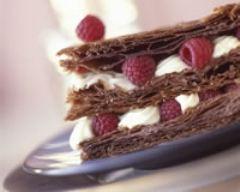 Recette millefeuilles au chocolat et aux framboises