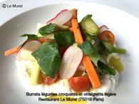 Recette de burrata légumes croquants et vinaigrette légère