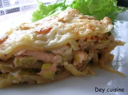 Recette de lasagnes poireau & saumon