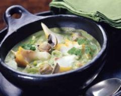 Recette soupe de poireaux au haddock et aux coques