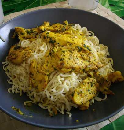 Recette emincés de poulet au curry et à la coriandre