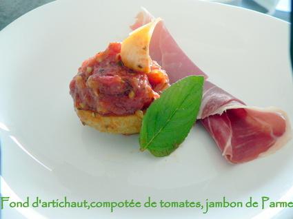Recette de fond d'artichaut, compotée de tomates, jambon de ...