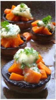 Recette de champignons farcis aux carottes et beurre d'ail