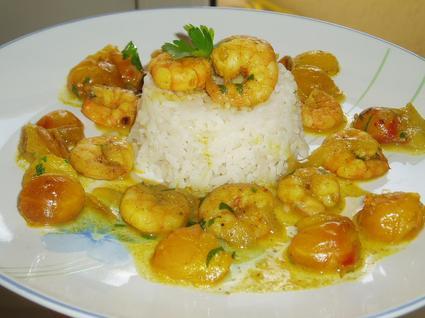 Recette de crevettes aux mirabelles et au curry