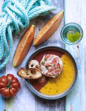 Tourteau, tomate et melon pour 4 personnes