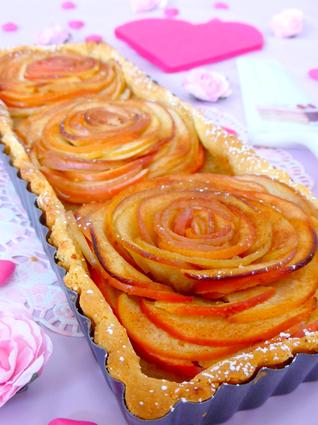 Recette tarte aux pommes bouquet de roses (tarte dessert)