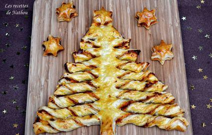 Sapin feuilleté et ses étoiles à la tapenade muhammara (poivrons ...