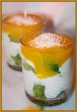 Recette de verrines kiwis-mascarpone et coulis de mangue