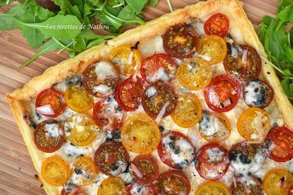 Recette de tarte feuilletée aux tomates cerise, échalotes et ...