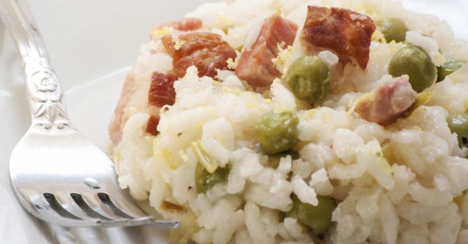 Recette pour un risotto allégé aux petits pois & lardons au ...