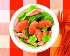 Recette salade de poulet au sésame, pousses d'épinards et ...