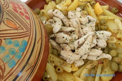 Recette de tajine de poulet aux olives et citron