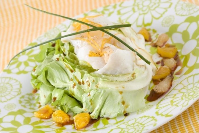 Recette de salade de cabillaud au sel et aux agrumes facile et rapide
