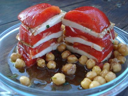 Recette de mille-feuille de tomates-mozzarella et ses pois chiches ...