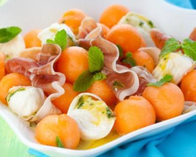 Recette melon à la mozzarella et jambon