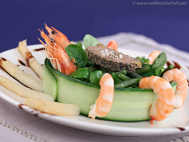 Salade au foie gras et aux crevettes  fiche recette illustrée ...