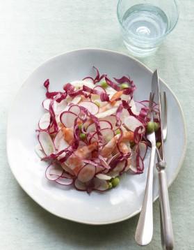 Salade croquante aux crevettes pour 4 personnes