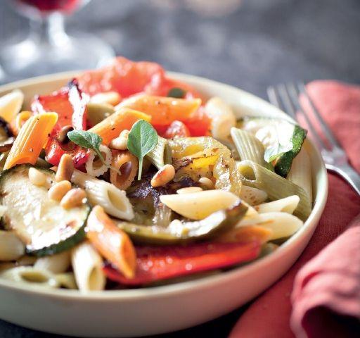 Recette salade de mezze penne tricolore aux légumes grillés ...