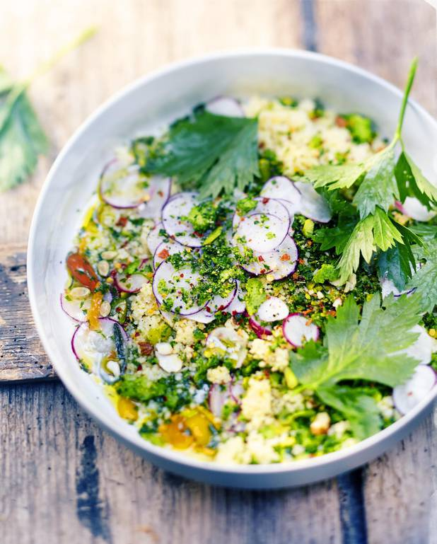 Couscous végétal, gremolata, persil, amandes et graines pour 6 ...
