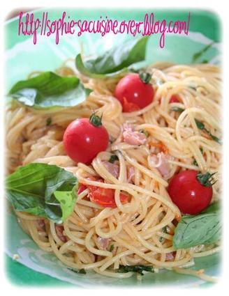 Recette de spaghettis au jambon cru, tomates cerises, basilic