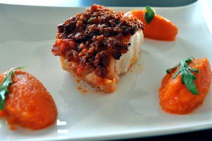 Recette de dos de cabillaud crumble de chorizo, purée de carottes ...