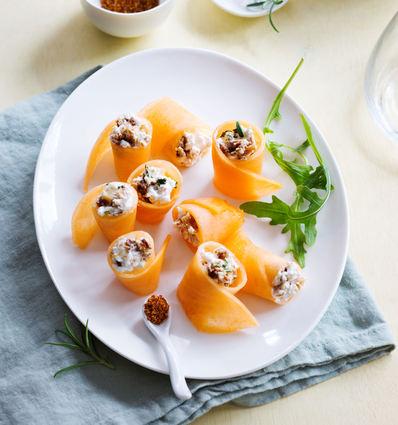 Recette de melon façon makis au fromage frais et aux figues